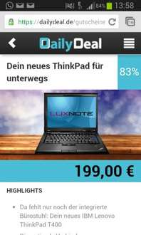 Lenovo Thinkpad Notebook T400 B-Ware Dailydeal  199 euro