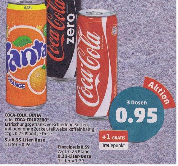 [ Penny ]  3 Dosen (0,33l) Coca Cola (auch Zero) ,Fanta  für 95 Cent
