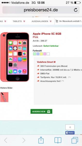 (Preisbörse24) apple iPhone 5c mit vodafone smart m für 19,99€ mtl. ohne Zuzahlung