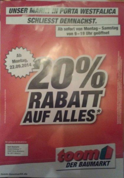 [Lokal] 20% auf ALLES im Toom Baumarkt Porta Westfalica wegen Schliessung!!
