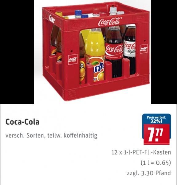 [Bundesweit][REWE] Coca-Cola, Fanta, Sprite 12x1Liter Kasten für 7,77€ + Pfand