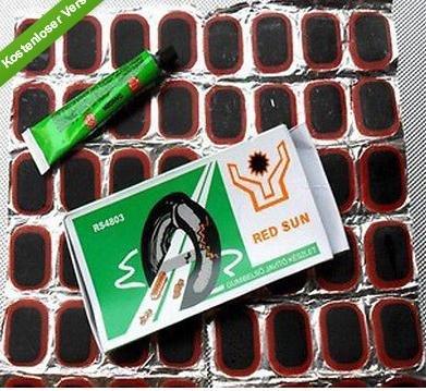 billigstes Flickzeug: 48 Flicken + 10ml Gummilösung 1,76€ aus China via ebay