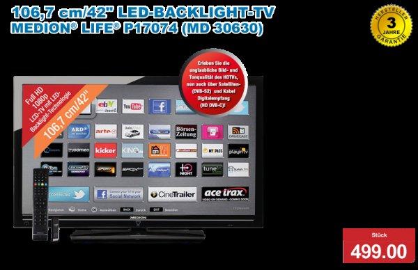 [B-Ware / 12 Mon. Garantie] MEDION P17074 106,7 cm (42 Zoll) LED-Backlight-Fernseher (Echte 100Hz, Full HD, DVB-S2/T/C, WLAN, DLNA, 4 HDMI, SmartTV und HbbTV)