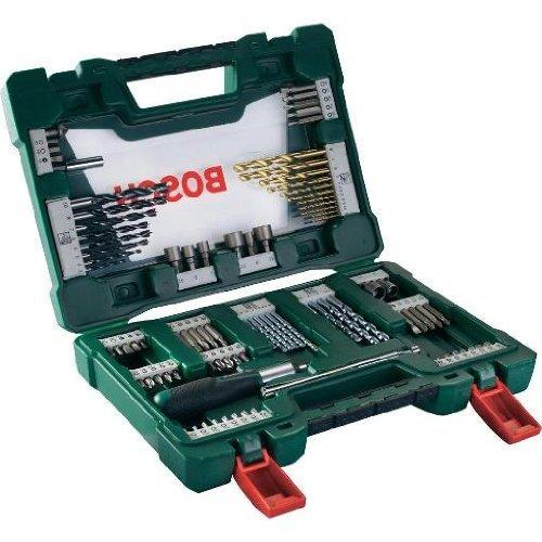 Bosch 91-tlg. TiN Bohrer- und Bit-Set mit Ratsche und Magnetstab 2607017195