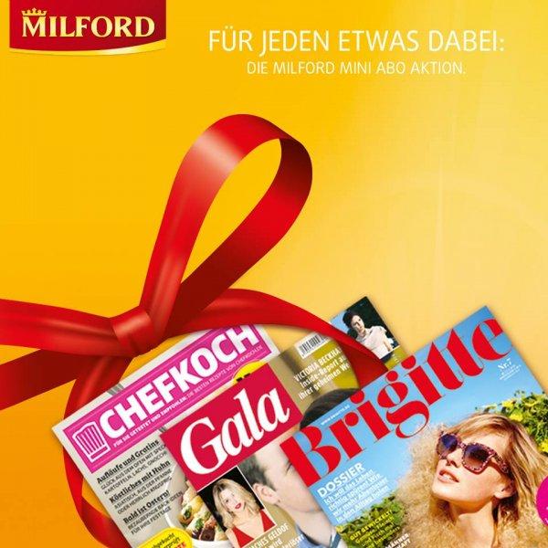 3 Ausgaben der Gala, Brigitte oder Chefkoch gratis beim Kauf von 1 Packung Milford Tee.