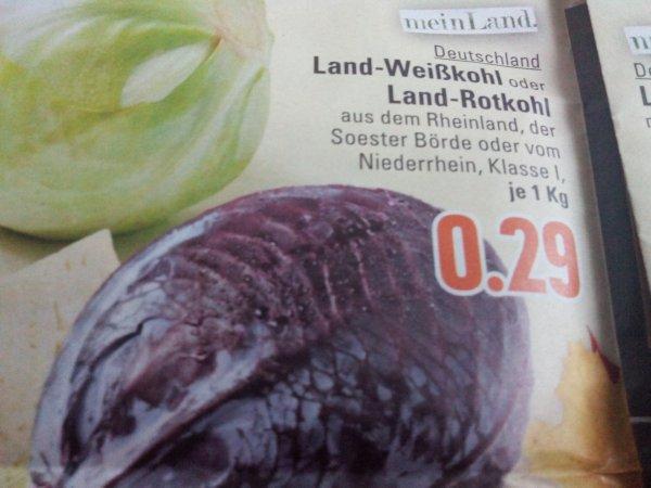 (Edeka Rhein Ruhr ) Weiss-oder Rotkohl Kilo für 0,29€