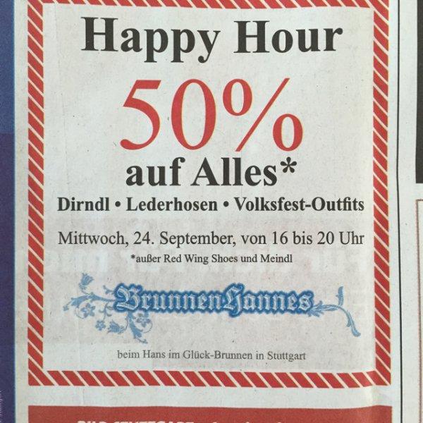 [Stuttgart] 50% auf alles bei BrunnenHannes