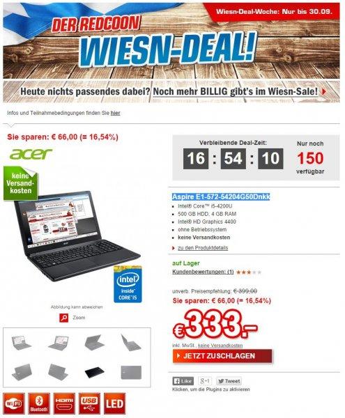 """Acer™ - 15.6"""" Notebook """"Aspire E1-572-54204G50Dnkk"""" (i5-4200U 2x1.6Ghz,1366x768,500GB HDD,4GB RAM,HDMI,USB3.0) für €333.- [@Redcoon.de]"""