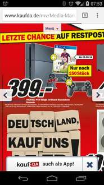 [Lokal Mülheim Mm] PS4 inkl. 2 Controller und Fifa 15 + The last of us und Kamera