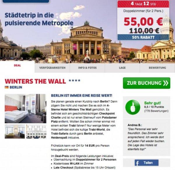 1 Übernachtung 2 Personen in Berlin in 4**** Hotel (nähe Potsdamer Platz) für 55 Euro @HRS