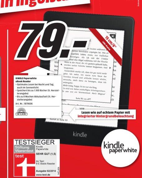 [lokal MM Ingolstadt] Kindle Paperwhite (neueste Version 2013) WiFi für 79€