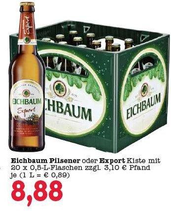 [Lokal] Marktkauf Weinheim Eichbaum Kiste 0,5 Export oder Pils 8,88€ statt 11,88€