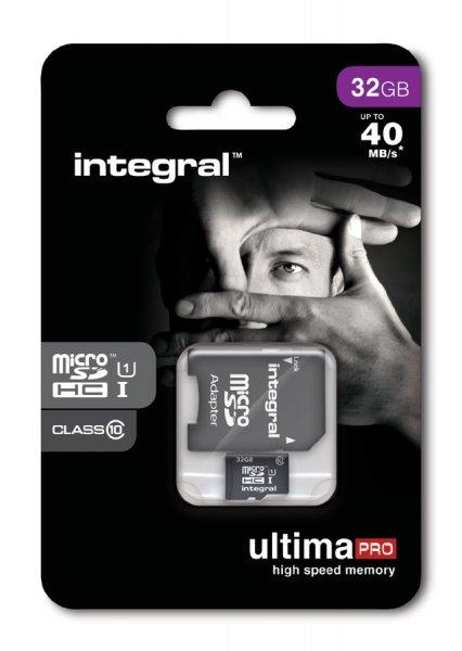 "Integral™ - 32GB microSDHC-Speicherkarte ""UltimaPro"" (UHS-I/Class 10,inkl. SD-Adapter) für €10,25 [@Mymemory.de]"