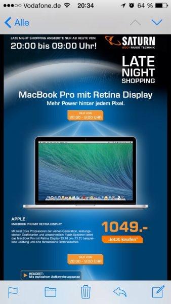 """Macbook Pro 13"""" mit Retina MGX72D/A (aktuelles Modell) für 1049€ @Saturn LateNight"""