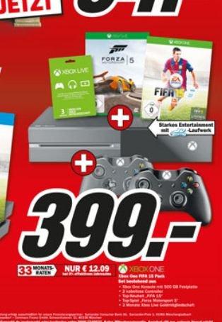 [Lokal] XBox One + Forza 5 + Fifa 15 + 2. Controller + 3 Monate Goldmitgliedschaft ab 399€ @Mediamarkt Porta