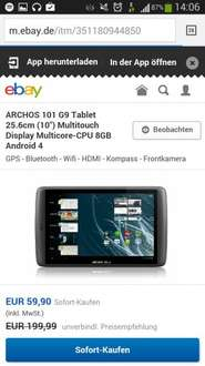 Archos 101 G9 Tablet 25.6cm 10 Zoll Multitouch Display Multicore-CPU 8GB Andriod 4