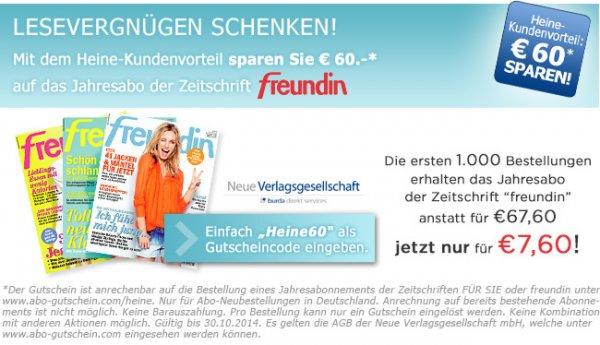 Freundin -Jahresabo für 7,60 Euro anstatt 72,80 Euro