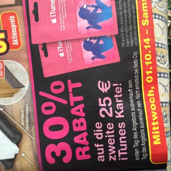 30 Prozent Rabatt beim Kauf von 2 25€ iTunes Karten