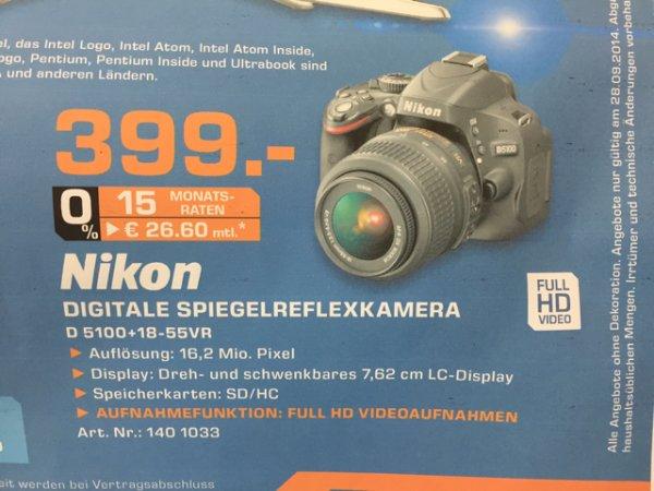 Nikon D 5100 mit 18-55mm VR Objektiv bei Saturn Sankt Augustin nur am 28.09. (verkaufsoffener Sonntag)