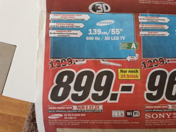 Samsung UE55H6690 bei Media Markt Castrop Rauxel - 2014 6er Serie Vollaustattung