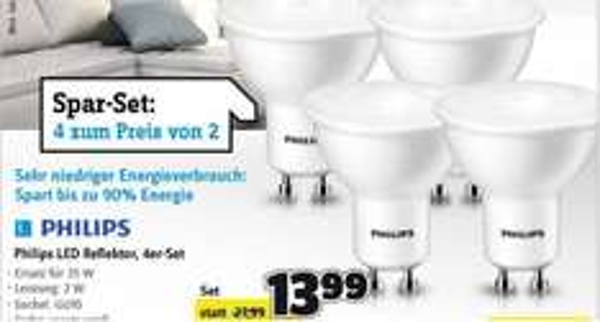 Philips LED GU10 2W=35W warmweiß Reflektor, 4er-Set