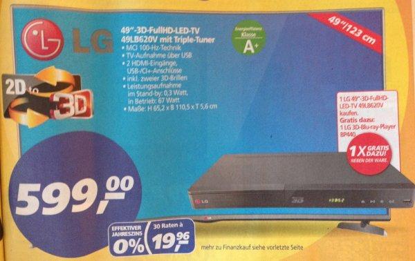 "LG TV 49LB620V (49"", IPS, passives 3D, Triple-Tuner) & 3D-Blu-ray Player BP440 - 599€ @ Real"