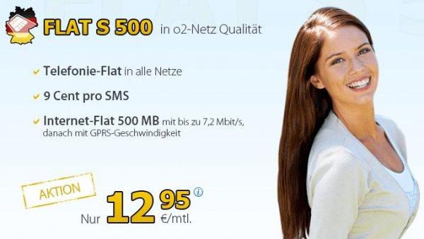 DeutschlandSIM FLAT S 500 - Allnet-Flat 500 MB, o2-Netz, monatlich kündbar - 12,95€/Monat