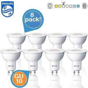 8er Pack Philips LED-Spots - GU10, 2700K, 3 Watt