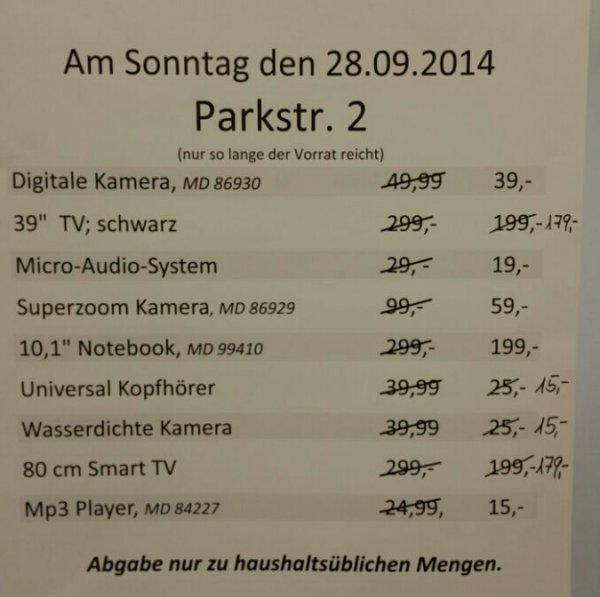 [Lokal Aldi Wülfrath] Sonderverkauf Sonntag, 28.09.2014