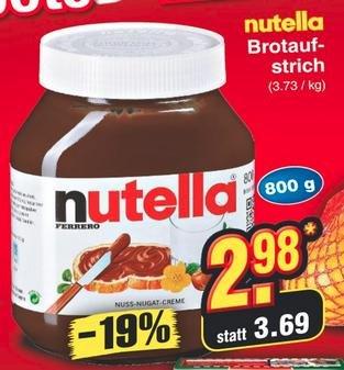 [Netto MD] 800g Nutella 2,98€, mit Cashback nur 1,98€