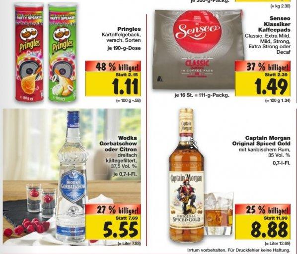 [Kaufland Nürnberg] Pringles 1,11€, Wodka Gorbatschow 5,55 €, Captain Morgan 8,88€
