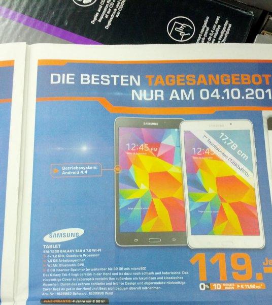 [Lokal Saturn Baunatal / RATIO ] NUR AM 04.10.2014 Samsung GALAXY Tab 4 7.0 Wi-Fi SM-T230