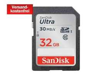 SANDISK SDHC Ultra 32GB Class 10 UHS-I 30MB/Sec für 11€ @Media Markt