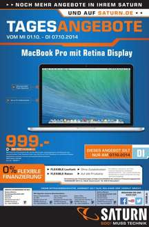 "[ Lokal]Apple MacBook Pro 13,3"" Retina 2014 (Ci5-4278U, 8GB, 128GB SSD, Mac OS X 10.x) (MGX72 D/A) @Saturn Hamburg NUR am 07.10.14"