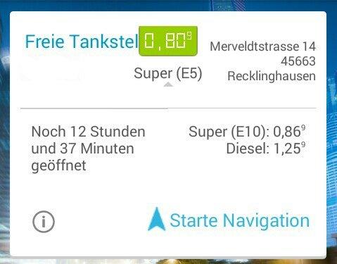 Freie Tankstelle in Recklinghausen Super für 0.80€