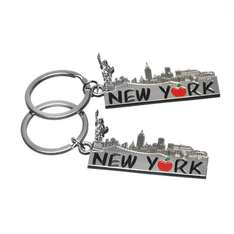"2x Big Apple ""New York"" Skyline Landmarks Souvenir Gift Metal Keychain-Set of 2"