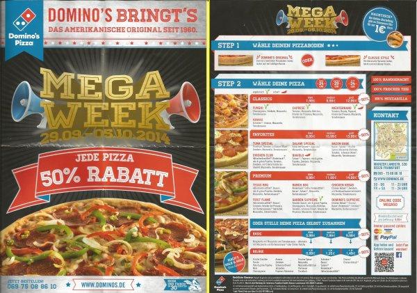 50% auf alle Pizzen bei Domino´s Pizza in Frankfurt