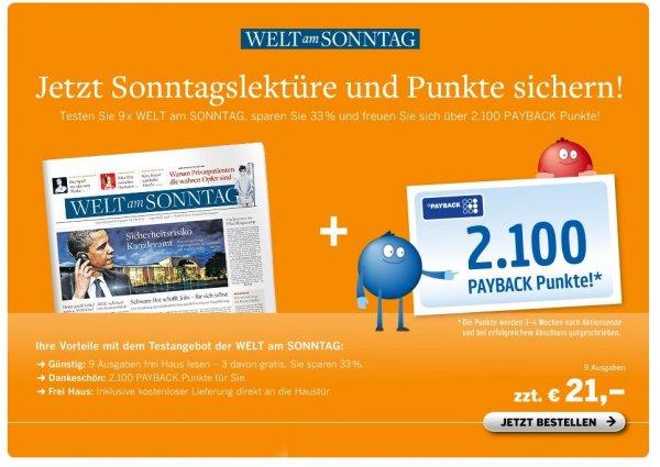 WELT am SONNTAG für 21 € inkl. 2.100 Payback Punkten