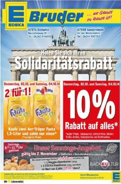 [LOKAL Umgebung Worms] EDEKA Bruder in Gundersheim und Osthofen gibt 10% auf alles