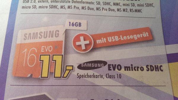 [Lokal] Samsung EVO micro SDHC 16GB