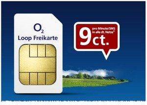 Drei O2 Loop Freikarten mit je 1€ Guthaben