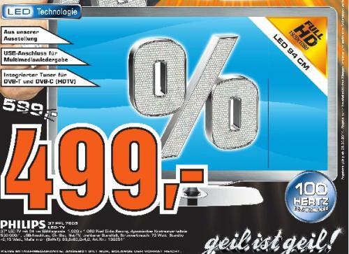 """Saturn Tübingen: Philips 37PFL7605H für 499€ (37"""" Full-HD LED-TV, DVB-T/C, DLNA, 100Hz) und weitere gute Angebote!"""