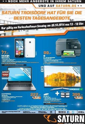 """[lokal] Saturn Troisdorf Tagesangebote Verkaufsoffener Sonntag 05.10.2014 - Nokia Lumia 530 Dual Sim 77€, Samsung 46H6170 399€ (Monitorwand), Hp Officejet 8610 99€ und 15"""" Compaq Notebook für 222€"""