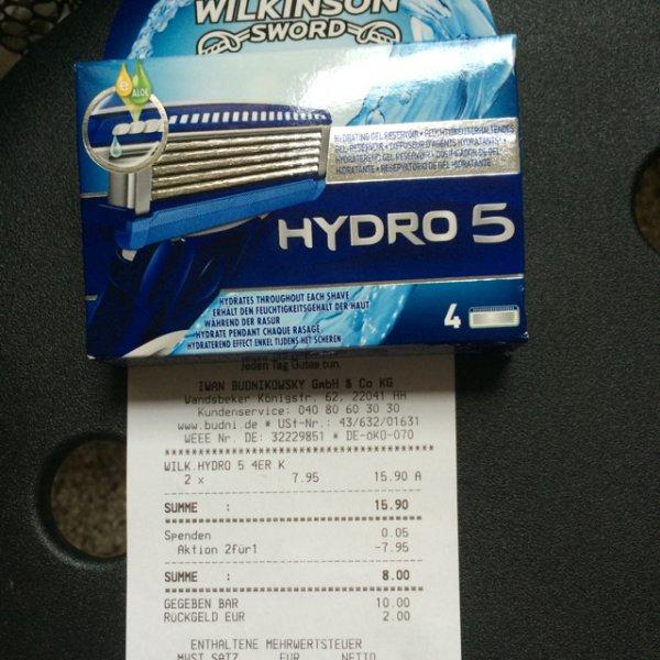 Wilkinson Hydrogen 5 -8 klingen für 8 € Lokal Hamburg Horn budnikowsky