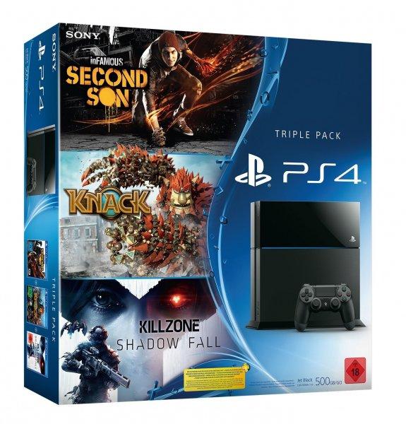 PS4 + 3 Spiele (Knack, Killzone, Infamous) für 399€ +5€ FSK18 Versand @Amazon.de
