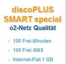 Discoplus 100 Frei-Minuten, 100 Frei-SMS, 1GB Daten-Flat im O²-Netz, monatlich kündbar für 7,95