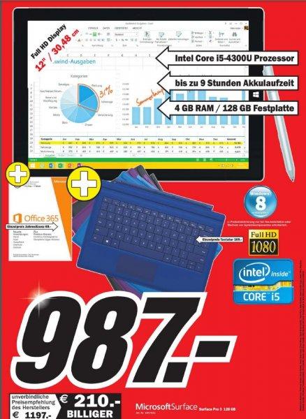 [Lokal] [MM Rhein-Neckar-Kreis] Surface Pro 3, 128gb + Tastatur + Office 356 Jahreslizenz/ Surface pro 2 bundle für 777€