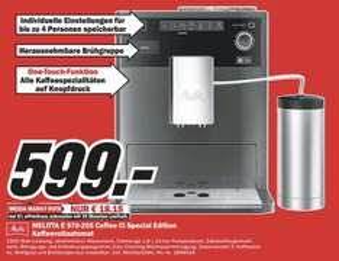 MELITTA Kaffeevollautomat CAFFEO CI Special Edition für 599,-€ lokal Media Markt Rheine/Nordhorn