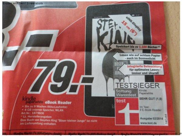 Kindle Paperwhite 4GB (Version 2014) bei MedieMarkt Berlin/Potsdam für 79,- €