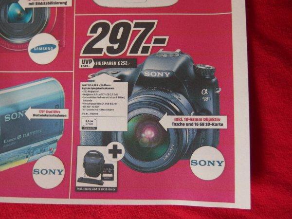 Sony Alpha 58 mit 18-55 SAM, Tasche und 16 GB SDHC. Lokal Mediamarkt Gründau Lieblos